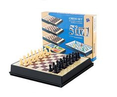 AOQING Chess Set 5 in 1 Magnetic Multipurpose Functional Recycle Material Chess Board Game for little kid Medium