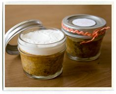 """Mini pumpkin pies in a jam jar... I thought these might be cute/reasonable as favors with a little tag that said something like """"Thank you for celebrating our sweetie-pie-to-be!"""""""