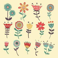 Beautiful collection of floral decorative elements. vector i Art Floral, Floral Drawing, Motif Floral, Folk Art Flowers, Abstract Flowers, Flower Art, Fabric Painting, Painting & Drawing, Painting Tips