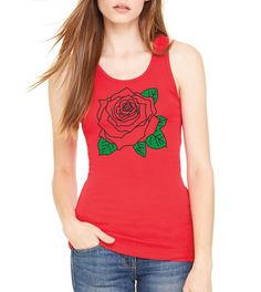 Funny workout Women Flower Rose  Workout Tanktop  Racerback Graphic Screenprint