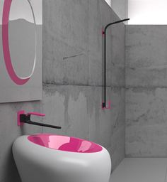 Karim Rashid Bathroom Faucets from Cisal #Pink (* I love the idea of painted or colored sinks for the bathroom, maybe could use it for the kitchen and laundrey room sinks too! Also, I think it would be nice for the inside of the toilet as well_LL).