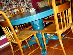 Peacock Blue Painted/Glazed Table Tutorial - DIY Show Off ™ - DIY Decorating and Home Improvement Blog