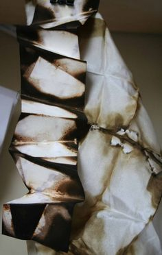 Fabric Manipulation - folded paper & silk dyed with onion skins; experimental textiles design // Alice Fox