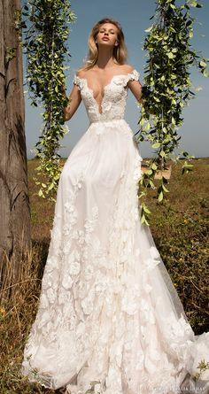 gala galia lahav spring 2017 off shoulder deep vneck aline wedding dress (710) mv romantic