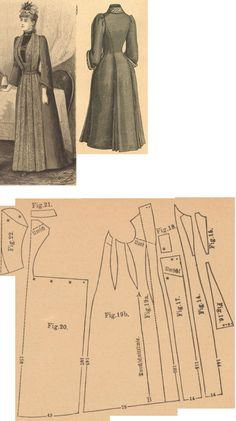 Der Bazar 1889: Morning gown from forint-colored solid and turquoise patterned woollens; 14. front insertion part, 15. plastron in half size, 16. front undergore in half size, 17. front outergore in half size, 18. belt in half size, 19. overdress' front part, 20. back part in half size, 21. collar in half size, 22. sleeve in half size