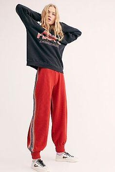 Side Eye Joggers - Red Joggers with Side Stripes - Red Joggers - Street Style Joggers - Cute Joggers - Athletic Pants - Athleisure Outfits Rainy Day Outfit For School, Outfit Of The Day, Red Joggers, Athleisure Outfits, Gym Outfits, Dressy Outfits, Spring Outfits, Thermal Pants, Side Eye
