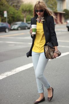 scarf, yellow top, and a leopard print purse? can't do it without the black blazer!