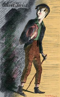A lithograph by Barnett Freedman for 'Oliver Twist,' published by the Heritage Press in New York, 1939.