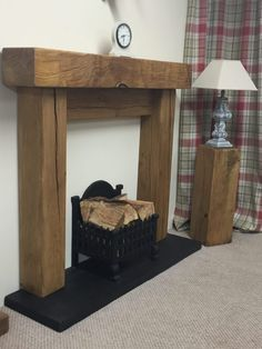 New Totally Free wooden Fireplace Mantels Suggestions Rustic Air Dried Oak Fire Surrounds + Facias Oak Beam Fireplace, Wooden Fireplace Surround, Oak Mantle, Faux Fireplace Mantels, Fireplace Bookshelves, Rustic Fireplaces, Fireplace Surrounds, Fireplace Design, Mantles