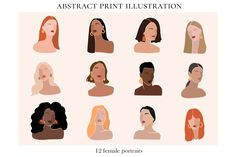 Abstract Woman Illustrations Prints by Julia Art Shop on People Illustration, Plant Illustration, Portrait Illustration, Graphic Illustration, Illustrations, Female Portrait, Female Art, Beige Color Palette, Boy Face