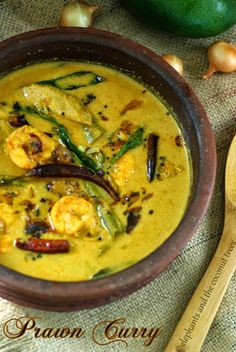 Prawn cooked with raw mango and drumstick in coconut sauce.Kerala style seafood curry cooked in earthenware.