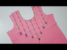 aslaam o alaikum friends welcome to stitching with green girl. aaj ki video ma main apko amazing neck design cutting and stitching btaoon ge. Chudi Neck Designs, Neck Designs For Suits, Neckline Designs, Blouse Neck Designs, Long Frocks For Girls, Kids Indian Wear, Kurta Neck Design, Flower Embroidery Designs, Green Girl