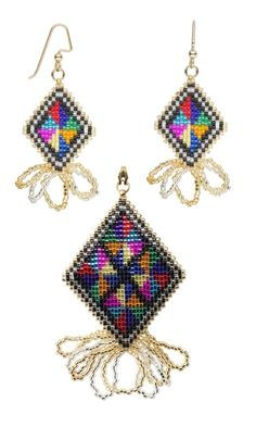 Earrings and Pendant Set with Delica® Glass Seed Beads - Fire Mountain Gems and Beads