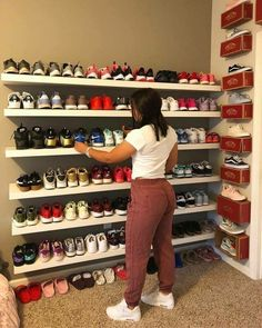 Easy Shoe Storage Ideas for Small Spaces You'll Love Great collection love the vans boxes on the wall as shelving units Shoe Storage Small, Closet Shoe Storage, Diy Shoe Rack, Shoe Shelves, Shoe Closet Organization, Shoe Storage Ideas For Small Spaces, Shoe Storage On Wall, Storage Boxes, Shoe Racks