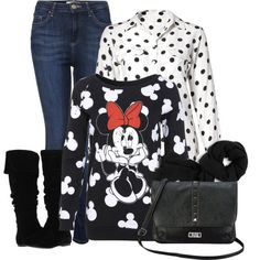 """""""Minnie Mouse Sweater"""" by mozeemo on Polyvore"""