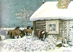 Goes to the storehouse and toolshop doors, Checking the locks of all, While the cows dream on in the cold moon's light, Summer dreams in each stall. And free of harness and whip and rein, Even Old Pålle dreams again. The manger he's drowsing over Brims with fragrant clover.