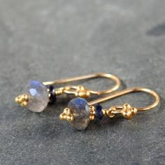 Labradorite Iolite and Gold Earrings by juditmdesigns on Etsy, $22.00