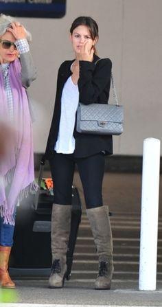 Rachel Bilson- boots airport clothes