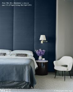Manhattan apartment of Kiane and Charlie von Mueffling | design by Iain Halliday of Sydney firm Burley Katon Halliday | the bedroom walls are covered in silk Jim Thompson wall panels | photography by Ditte Iseger | as seen in 'Mix Me a Manhattan' story in Vogue Living Mar/April 2011 pg 132