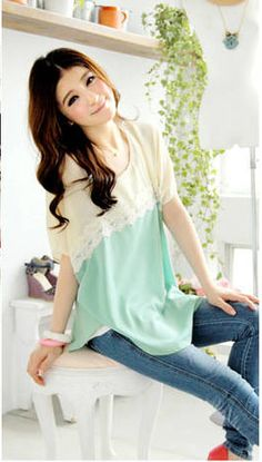 Women's Lace Splicing Chiffon Casual Shirt With Batwing Sleeves Lace Embellished Refreshing Design (GREEN) China Wholesale - Sammydress.com