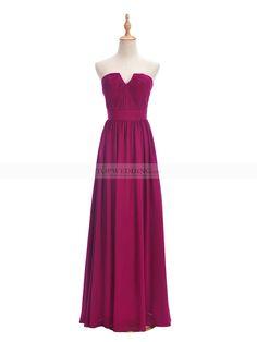 Dark Magenta Strapless Pleated Chiffon Bridesmaid Dress with Chic Shallow V Neck