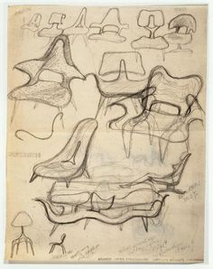Ray Eames, Sketch of Chairs, c. 1943-46, graphite on tracing and kraft paper, Library of Congress, Prints and Photographs Division, The Work of Charles and Ray Eames. Source: Eidelberg M et al. The Eames Lounge Chair: An Icon of Modern Design Principles of Design in use: Contrast, Variety, Dominance