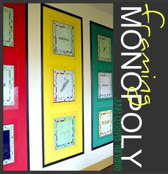 framing monopoly (design for a game room) Cool idea but gotta do em as shadow boxes so you can include all the game pieces