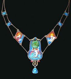 'Cupid with Earth Upholder'. Enamel with foil on copper, necklace. 1907. Trustees of the National Museum, Edinburgh.