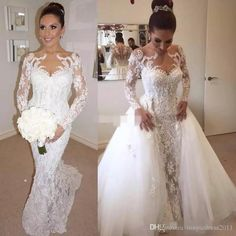 Steven Khalil Long Sleeve Full Lace Wedding Dresses with Detachable Train Illusion Neck Beads 2017 Arabic Vintage Bridal Dress Wedding Gowns Beach Wedding Gowns Crystal Weeding Dress Berta 2015 Bridal Gowns Online with $248.0/Piece on Magicdress2011's Store | DHgate.com