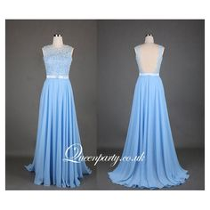 2015 Light Blue Open Back Prom Dress With Lace Bodice