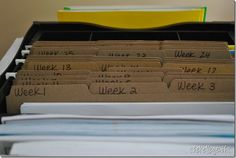 File photocopies, tests, worksheets, or whatever you plan ahead in the folder of that week of the year.