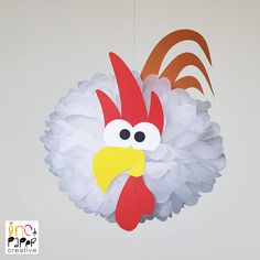 Barnyard Party Rooster Pompom Decoration/Farm party birthday/Farmyard Party Supplies/Old McDonald Barnyard Bash/Rodeo Baby Shower Barnyard Party, Pig Party, Farm Party, Farm Animal Birthday, Farm Birthday, Pom Pom Baby, Barn Wood Crafts, Baby Chickens, Farm Theme