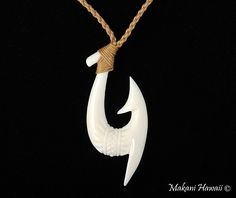 Cow Bone Handcrafted Fish Hook Necklace   Makani Hawaii