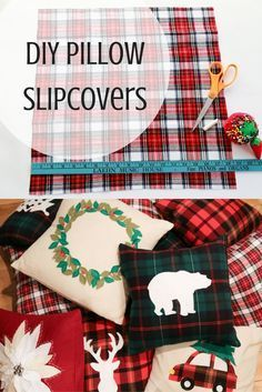 How to Make Winter/Holiday Pillow Slipcovers (TUTORIAL) - DIY Pillow Slipcover Tutorial! Looking to spruce up those boring couch pillows in hopes of glamorou - Sewing Hacks, Sewing Tutorials, Sewing Crafts, Sewing Tips, Tutorial Sewing, Clay Tutorials, Fabric Crafts, Diy Tumblr, Diy Pillows