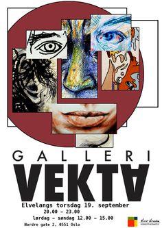Årets første utstillingsåpning på Galleri Vekta. Tegnelinja viser arbeid fra SELFIE kurset med gjestelærer Hanne Lydia O.Kristoffersen