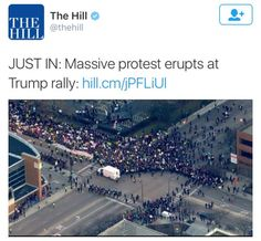 """!!!This is a very important moment that deserves to be commended!!!Donald Trump's Chicago rally Friday night was canceled as large crowds of about 1000 Black Lives Matter and Anti-Trump protesters amassed inside and outside the arena, leading organizers to fear for the """"safety and security of those gathered.""""Protesters walked throughout the arena, arms linked, holding up signs, and even chanting""""Bernie!!"""", showing Trump just how Chicago welcomes people like himsource#StayWoke"""