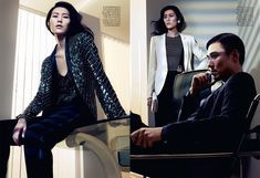 Liu Wen by Sharif Hamza in Giorgio Armani for Vogue China May 2012