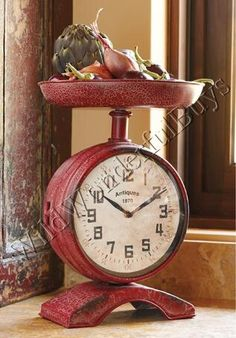 Vintage Country Chic Red Scale Clock French Distressed Kitchen Counter New   eBay