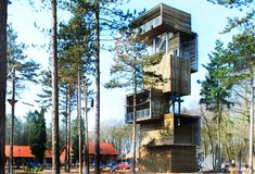 Boxy Wooden Treehouse Tower in the Netherlands (aka modern version of the Burrow)