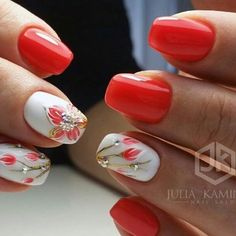 We have carefully collected the most beautiful styles of nails for everyone to give you inspiration for beautiful nails. Hot Nails, Hair And Nails, Spring Nails, Summer Nails, Classic Nails, Red Nail Designs, Flower Nail Art, Beautiful Nail Art, French Nails