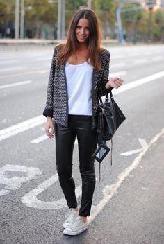 chucks and leather pants..