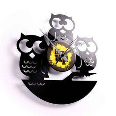 Horloge vinyle Hiboux ATYLIA