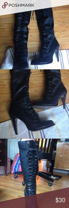 Aldo lace up tall leather boots