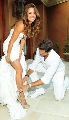 Brooke Burke & David Charvet 2011 | Burke donned a custom Mark Zunino wedding dress