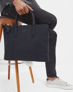 Slim rubberised leather document bag - Navy | Bags | Ted Baker SEU
