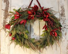 Christmas Wreath Fall Wreath Grapevine Wreath Door by BeezDream