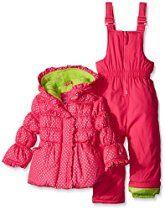 Pink Platinum Baby Girls' Dot Printed Snowsuit, Pink Glow, 12 Months