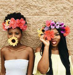 Natural Hair Queen, Black Beauty, Black Girl, Natural Hair Style, Dark Skin Make Up, Flower Crown