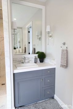 Bathroom Wall Colors, Bathroom Wall Cabinets, Washroom, Modern French Country, French Country House, Modern Farmhouse Bathroom, Country Bathrooms, Remodled Bathrooms, Farmhouse Vanity