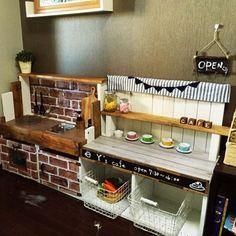cojico_mamaさんの、ままごとキッチン,ままごとカフェ,カラーボックスリメイク,息子の部屋,男前インテリア,イケア…